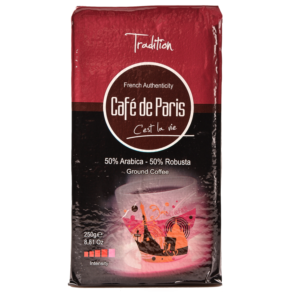 Кофе молотый Cafe de Paris Tradition 50% Арабика/50% Робуста 250г (3259235421396) Segafredo Zanetti - 1