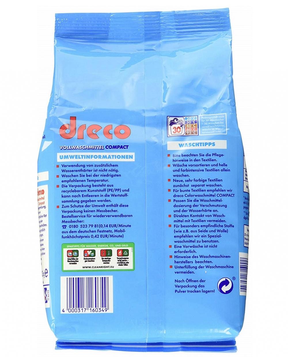 Стиральный порошок для стирки белья универсальный  концентрированный Dreco 2,025 кг  30 стирок (4000317160349) - 1