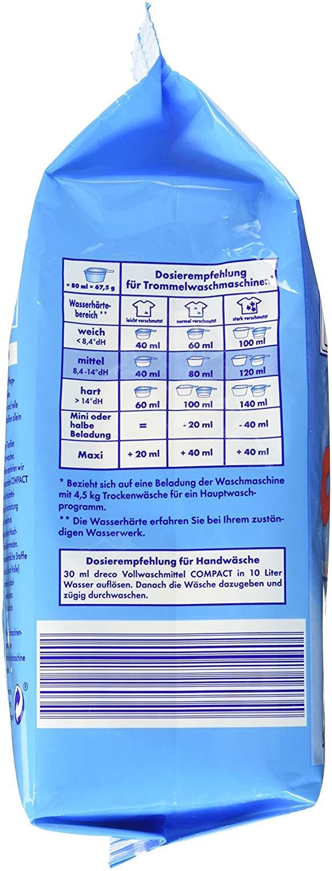 Стиральный порошок для стирки белья универсальный  концентрированный Dreco 2,025 кг  30 стирок (4000317160349) - 2