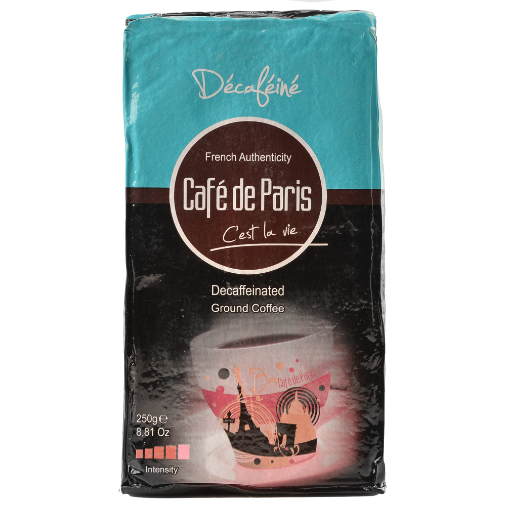 Кофе молотый без кофеина Cafe de Paris Decafeine 100% Робуста 250г (3259235821394) Segafredo Zanetti - 1